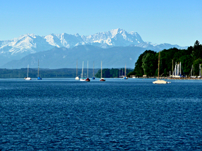 The Wetterstein range, with Germany's highest mountain, the Zugspitze, viewed across Lake Starnberg from Tutzing