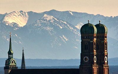 Munich Frauenkirche and view toward Alps
