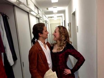 Angela Brower backstage with Nikolay Borchev at the Bavarian State Opera