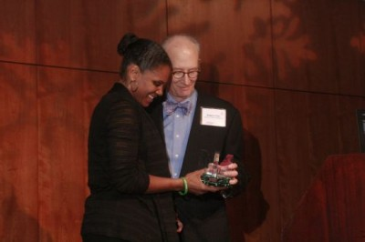 Musician of the Year Audra McDonald accepts her award from Musical America Features Editor Sedgwick Clark