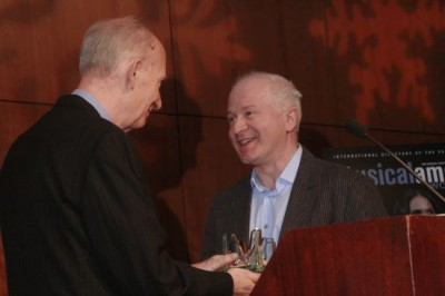 2014 Composer of the Year George Benjamin accepts his award from Musical America Features Editor Sedgwick Clark. CLICK TO VIEW VIDEO