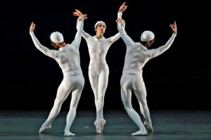 "From left, Cory Stearns, Veronika Part and Thomas Forster in the company premiere of ""Mono-tones I and II."""