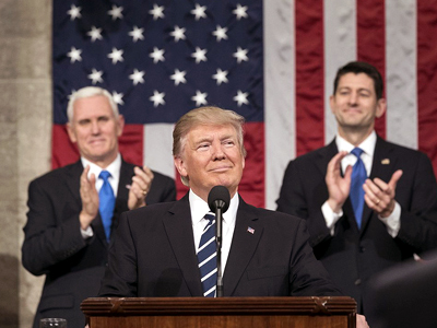 Donald Trump delivers a joint address to Congress