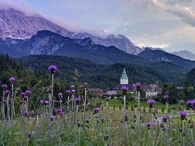 Schloss Elmau and the Wetterstein Mountains in Bavaria